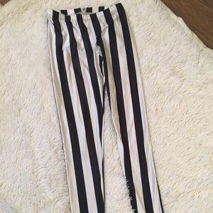 Pants - White and Black Striped pants